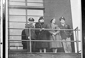 RAF Chelveston - Visitors on the control tower at Chelveston, 1944