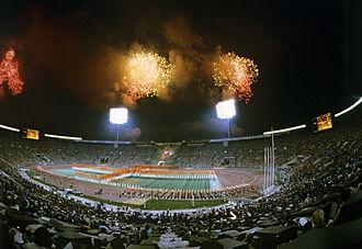1980 Summer Olympics closing ceremony - Fireworks above the stadium. RIAN photo.