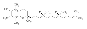 Tocopherol - RRR stereoisomer of alpha-tocopherol, bonds around the stereocenters are shown as dashed lines (pointing down) or wedges (pointing up).