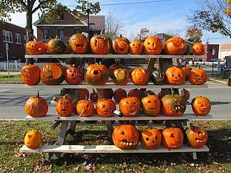 Jack-o'-lantern - An assortment of carved pumpkins.