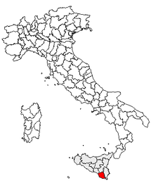 Location of the province of Ragusa within Italy.