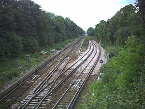 Wimbledon and Sutton Railway - The junction of the St Helier line (right) with the Epsom line (left), showing the steep incline at this point