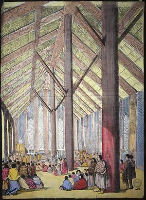 Rangiātea Church - Picture on tea towel of the interior circa 1851