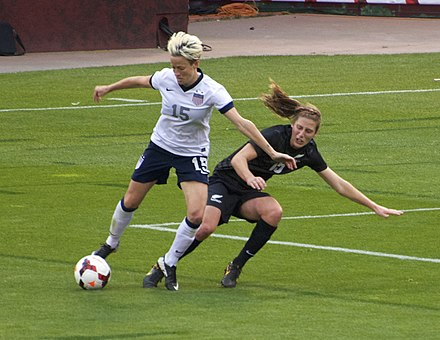 Rapinoe battles for the ball during a match against New Zealand at Candlestick Park, 2013. Rapinoe candlestick.jpg