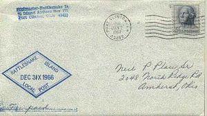 Rattlesnake Island (Lake Erie) - A Rattlesnake Island local post cover of 31 December 1966.