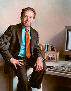 The official portrait of Robert Reich hangs in the Department of Labor