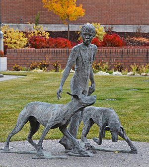"""Wilson Rawls - Statue of characters in """"Where The Red Fern Grows"""" at the Public Library in Idaho Falls, Idaho.  Entitled '""""Dreams Can Come True"""" Wilson Rawls author of Where The Red Fern Grows.' Sculpture by Marilyn Hoff Hansen"""