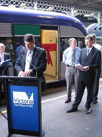 Regional Fast Rail project - Launch of the Geelong line upgrades by Victorian Premier Steve Bracks and Transport minister Peter Batchelor in February 2006