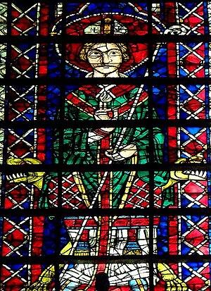 Henri de Dreux - Representation of Henri de Dreux on a stained glass window of the Notre-Dame de Reims cathedral.