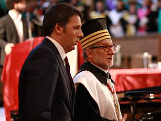 Rector (academia) - Rector of Bologna University, Ivano Dionigi, with then Prime Minister of Italy Matteo Renzi, in 2015.