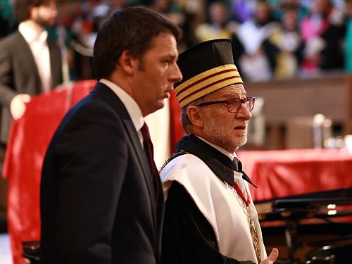 Rector of Bologna University, Ivano Dionigi, with then Prime Minister of Italy Matteo Renzi, in 2015. Renzi Dionigi 2015.jpg