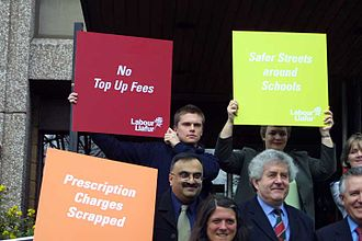 Welsh Labour - Rhodri Morgan campaigning in 2003 against the introduction of top-up fees for university students – a Labour policy at Westminster