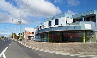 Riverside, Tasmania - Commercial buildings and St David's Church on the corner of Ecclestone Road, Riverside