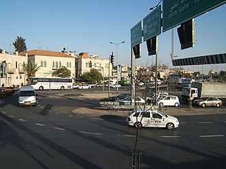 Highway 60 (Israel) - Highway 60 crossing Street of the Prophets.  The Dome of the Rock can be seen in the far right background.