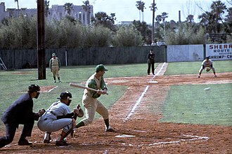 Rocky Colavito - Colavito batting for the Kansas City A's during 1964 Spring training.