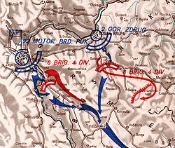 map showing the ground assault on Drvar by the 92nd Motorised Regiment kampfgruppe
