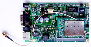 Wireless router - An embedded RouterBoard 112 with U.FL-RSMA pigtail and R52 miniPCI Wi-Fi card.