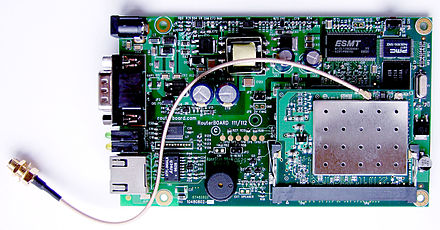 An embedded RouterBoard 112 with U.FL-RSMA pigtail and R52 mini PCI Wi-Fi card widely used by wireless Internet service providers (WISPs) in the Czech Republic RouterBoard 112 with U.FL-RSMA pigtail and R52 miniPCI Wi-Fi card.jpg