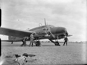 Avro Anson - An Anson of No. 320 (Netherlands) Squadron, Coastal Command, about to take off on a patrol mission, circa 1940–1941