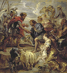 Jacob is shaking hands with Esau. In the foreground are two long-tailed white sheep, two cows and a goat. In the background are two camels and a horse.