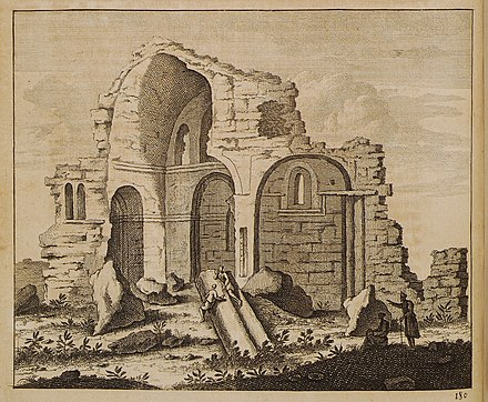 Ruins of the Crusader Cathedral, 1714 illustration by De Bruyn Ruines d'un temple a Tyre - Bruyn Cornelis De - 1714.jpg