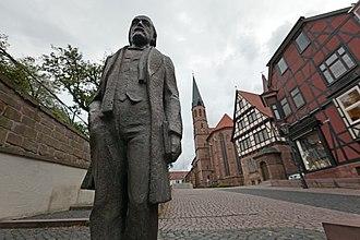 Heilbad Heiligenstadt - Statue of Theodor Storm in front of the Storm Literary Museum