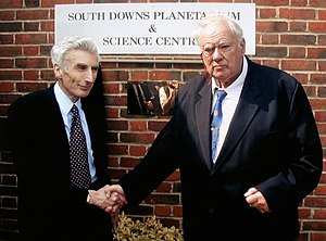South Downs Planetarium & Science Centre - Sir Patrick Moore was joined by the Astronomer Royal, Sir Martin Rees, for the official opening of the South Downs Planetarium on 5 April 2002.