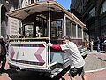 SF cable car no. 1 being turned on Powell St. 4.JPG