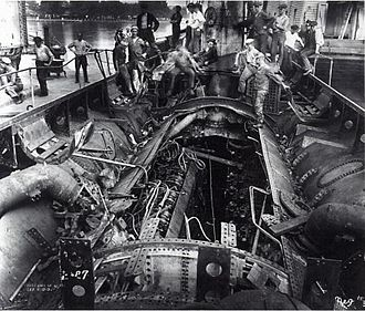 SM U-117 - U-117, partially dismantled, at the Philadelphia Navy Yard, 1920