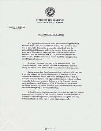 Sagamore of the Wabash - Image: Sagamore of the Wabash Definition Letter