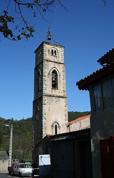 Saint-Étienne-Estréchoux (Hérault) - clocher de l'église Saint-Étienne.