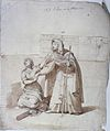 Saint Lucy with her blind mother Eutychia. Ink drawing by To Wellcome L0029035.jpg
