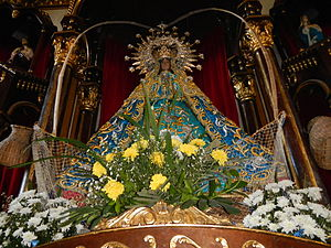 Our Lady of Salambao - Closeup of the image of Our Lady of Salambáo, showing her ensconced in a salambáw net.