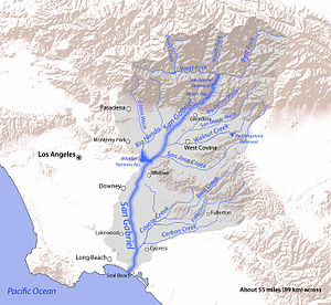 English: Map of the San Gabriel River watershe...