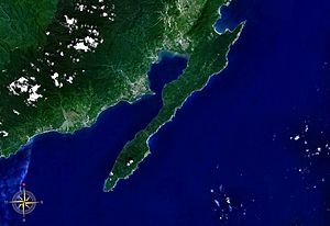 San Ildefonso Peninsula - San Ildefonso Peninsula seen from space