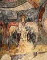 San lorenzo in insula, cripta di epifanio, affreschi di scuola benedettina, 824-842 ca., madonna in trono bendicente e sei angeli con scettro e globo 06.jpg