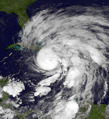 Satellite imagery of a well-developed and rapidly intensifying hurricane north of Jamaica