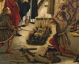 A detail a Pedro Berruguete painting of a disputation between Saint Dominic of Guzman and the Albigensians (Cathars) in which the books of both were thrown on a fire, with St. Dominic's books miraculously preserved from the flames. See the whole picture.