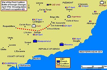 Map of battle area on French-Italian border