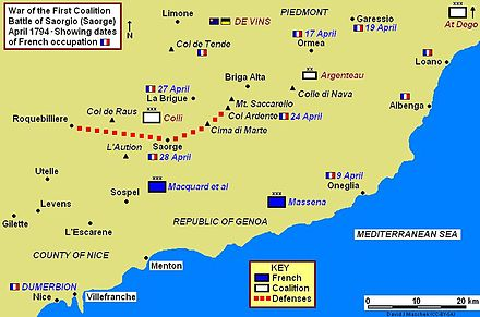 Map of battle area on French–Italian border