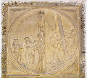 A relief of the torture of Saint John Sarkander on torturing rack at Sarkander's gravestone in 1620