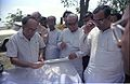Saroj Ghose Explaining Science City Project To Prasanta Chatterjee - Meeting Between CMC And NCSM Officers - Science City Site - Dhapa - Calcutta 1993-04-22 0564.JPG