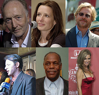 Saw (franchise) - Central actors of the series. From top-left to bottom-right: Tobin Bell, Shawnee Smith, Cary Elwes, Costas Mandylor, Danny Glover, and Betsy Russell.