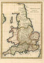 The British Isles appear on a pale and yellowed map. The isles are divided into political territories.