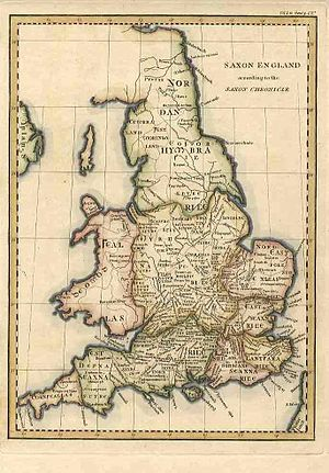 "Cornwall - ""Cornweallas"" shown on an early 19th-century map of ""Saxon England"" (and Wales) based on the Anglo-Saxon Chronicle."
