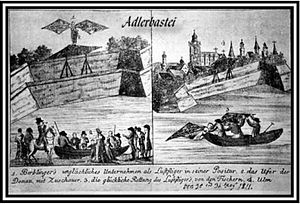 Albrecht Berblinger - Contemporary drawing of the flight attempt