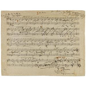 "Fantasiestücke, Op. 12 - First page of Schumann's draft for ""Des Abends"""