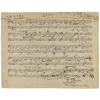 "Fantasiestücke, Op. 12 - First page of Schumann's draft for ""Des Abends"""