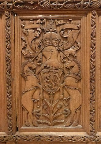 Keeper of the Privy Seal of Scotland - Scottish Royal Arms panel from St. Andrews Castle, seat of Cardinal David Beaton, Keeper of the Privy Seal in 1542