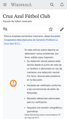 Screenshot of mobile page issue banner on Spanish Wikipedia.png